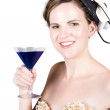 Vintage girl with a blue cocktail — Stock Photo #31983907