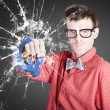 Intelligent young man with good idea — Stock Photo