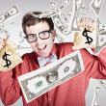 Happy accountant man in rain of falling money — Stock Photo