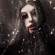 Female face of dark horror. Eye of the black widow — Stock Photo