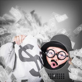 Funny businessman with falling money. Success — Stok fotoğraf