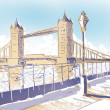 Minimalist hand drawn sketch Tower Bridge London — Stock Photo