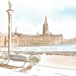 Fine art landscape sketch of Stockholm Sweden — Stock Photo