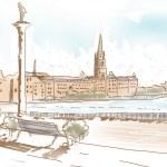Fine art landscape sketch of Stockholm Sweden — Stock Photo
