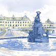 Drottningholms Slott royal palace and fountain Illustration — Stock Photo