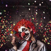 Creepy birthday clown at party celebration — Stock Photo