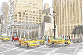 Hand drawn sketch of a busy New York City street — Stock Photo