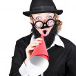 Crazy businessman making megaphone announcement — Foto Stock