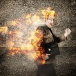 Crazy businessman running engulfed in fire. Late — Stock Photo
