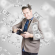 Businessman under falling money. Financial success — Stock Photo