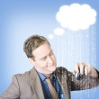 Thinking business man with cloud computer idea — Stock Photo