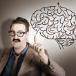 Creative man thinking up brain illustration idea — Stock Photo
