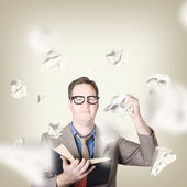 Businessman revising strategy in choice for change — Stock Photo