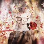 Funny valentine nerd caught in net of romance — Stock Photo