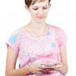 Stock Photo: Pregnant woman texting on smart mobile phone