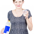 Young pregnant woman drinking fresh milk — Stock Photo