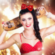Stock Photo: Retro skate pinup girl in cute eighties fashion