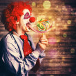 Scary circus clown at horror birthday party — Stock Photo