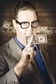 Banking business man with American money — Stock Photo