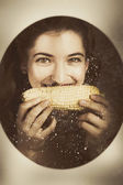 Vintage food product advert. Woman eating corncob  — Stock Photo