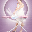 Retro pin-up lady doing ironing in 50s fashion — Stock Photo