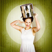 1940s pin up woman in army cook pot. Food service — Stock Photo