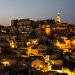 Panoramic view of Matera at night, Basilicata, Italy Town in the rock — Stock Photo