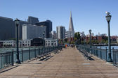 Embarcadero and Transamerica building seen from Pier 7 — Stock Photo