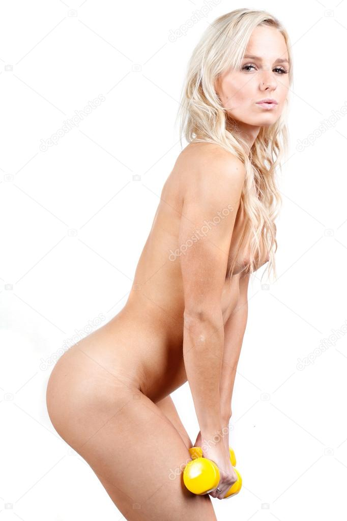 Naked woman in sports