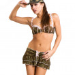 Stock Photo: Beautiful woman in sexy army look