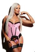 Donna sexy in lingerie rosa e calze nere, girato con duro s — Foto Stock