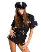 Sexy donna vestita in stile di sicurezza — Foto Stock