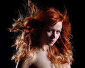 Very beautiful portrait made of a woman with red hair — Stock Photo