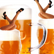 Crazy oktoberfest style with sexy legs and beer — Stock Photo