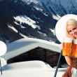 Tiroler oktoberfest woman with beer — Stock Photo