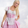 Beautiful woman in tiroler oktoberfest style — Stock Photo