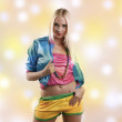 Woman in colorful dance outfit — Stock Photo