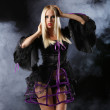 Woman in gothic halloween style — Stock Photo