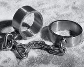 Hard steel handcuffs or cuffs — Stock Photo