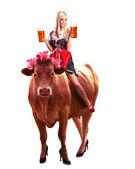 Crazy tiroler or oktoberfest woman — Stock Photo