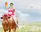 Crazy tiroler or oktoberfest woman — Stock Photo