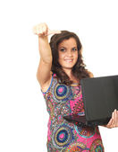 Attractive girl in a bright blouse left hand holds a laptop and — Stock Photo