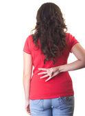 Bac arkasındaki dört başparmak gösterilen kırmızı gömlekli güzel kız — Stok fotoğraf