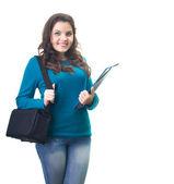 Attraktivt leende ung kvinna i en blå tröja som håller en blå fo — Stockfoto