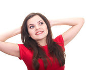 Attractive smiling young woman in a red shirt, lifted her hands — Stock Photo