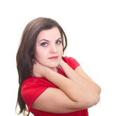 Attractive smiling young woman in a red shirt hugged her neck wi — Stock Photo