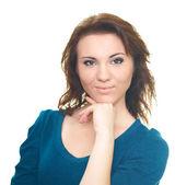 Portret atrakcyjna młoda kobieta w niebieska koszula. — Zdjęcie stockowe