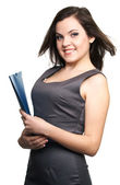 Attractive young woman in a gray business dress. Woman holds a b — Stock Photo