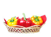Fresh peppers are in the basket. — Stock Photo