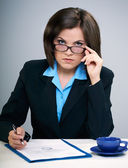Young attractive businesswoman in glasses. — Stockfoto